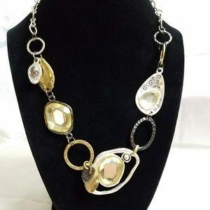 Mixed Metal Gemstone Necklace.